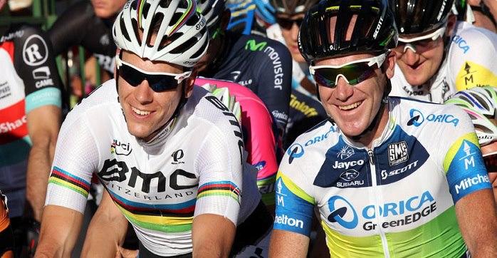 Philippe Gilbert and Stuart O'Grady via Tour Down Under facebook