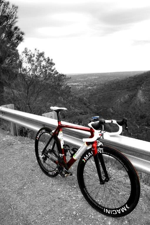 finished red bike