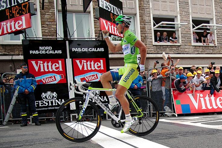 Stage winner, Slovakia's Peter Sagan cel
