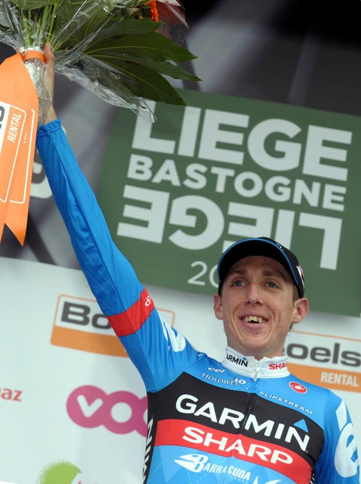 Garmin-Sharp rider Daniel Martin of Ireland celebrates on the podium after winning the Liege-Bastogne-Liege Classic cycling race in Ans