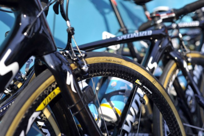 astana specialized branded fmb paris roubaix 27mm tyres look like they've seen an application of aquaseal designed to weather proof the cotton side walls