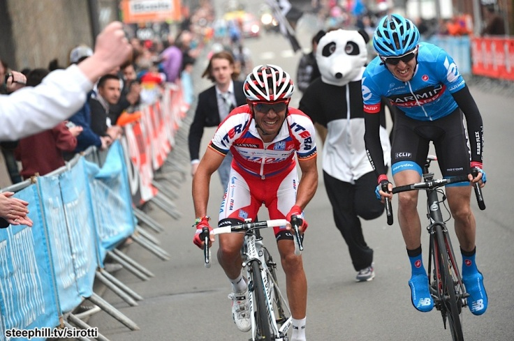 Dan Martin passes the Panda with ease and then slides past Rockin' Joaquin Rodriguez