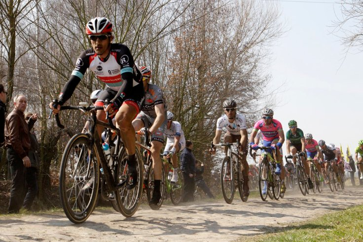 RadioShack Leopard team rider Switzerland's Cancellara cycles on a cobble-stoned section during111th Paris-Roubaix cycling race in Roubaix