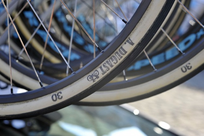 Dugast's 30mm Roubaix tires are usually reserved for poor weather, but a few riders used them on Sunday. These were on a pair of back-up wheels featuring Ambrosio Nemesis rims.
