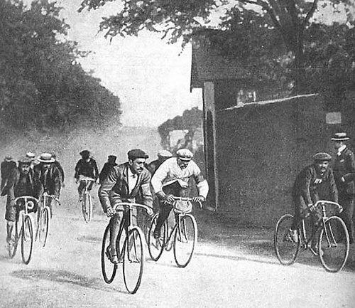 Cyclists ride in the first running of the Tour de France in 1903