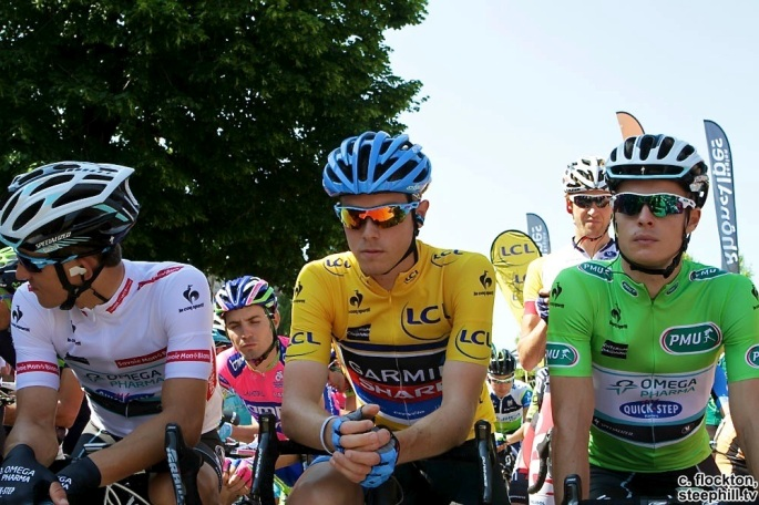 Rohan Dennis and the other jersey leaders at the start in Grésy-sur-Aix