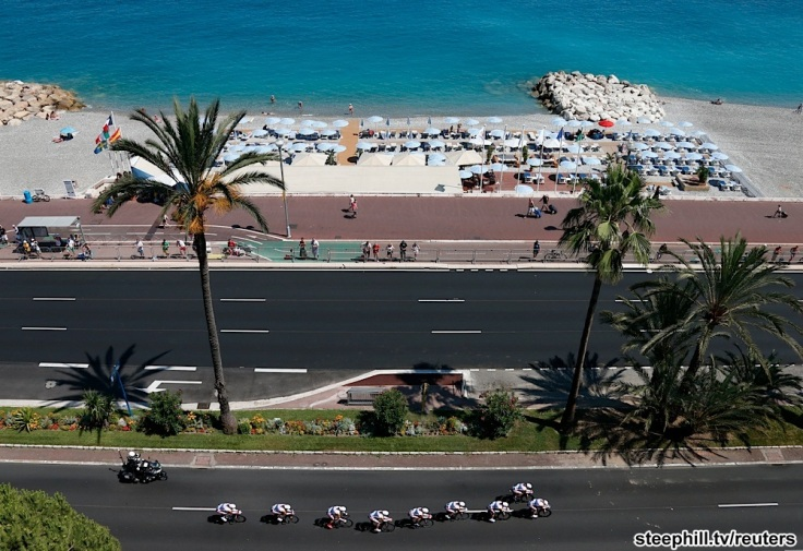 Lotto-Belisol team riders cycles on the Promenade des Anglais during the 25km team time-trial fourth stage of the centenary Tour de France cycling race in Nice