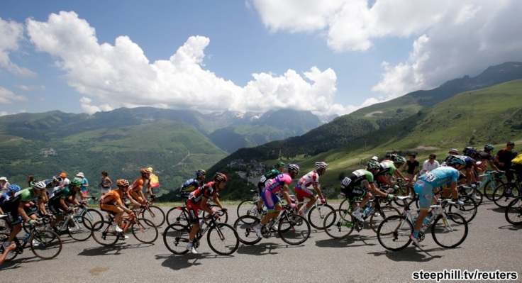The pack of riders climb the Val Louron-Azet pass during the 168.5 km ninth stage of the centenary Tour de France cycling race from Saint-Girons to Bagneres-de-Bigorre