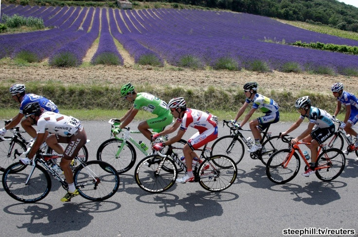 A break away group cycles during the fifteenth stage of the centenary Tour de France cycling race from Givors to Mont Ventoux