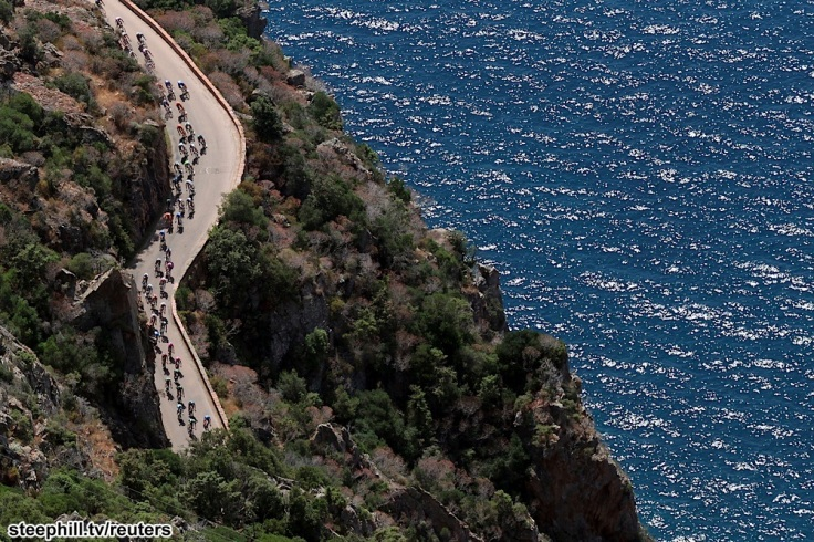 An aerial view shows the pack of riders as they cycle along the coast  during the 145,5 km third stage of the centenary Tour de France cycling race from Ajaccio to Calvi