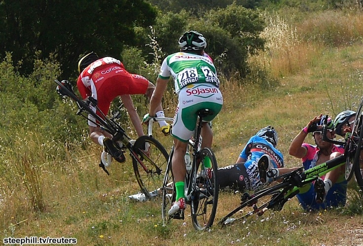 Riders fall during the 228.5 km fifth stage of the centenary Tour de France cycling race from Cagnes-Sur-Mer to Marseille