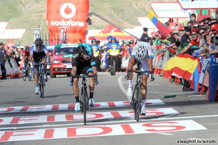 Warren Barguil (argos ) crosses mm ahead of Rigoberto Uran
