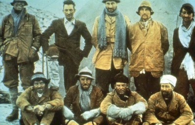 George Leigh-Mallory (second left back row) with the 1924 expedition party.
