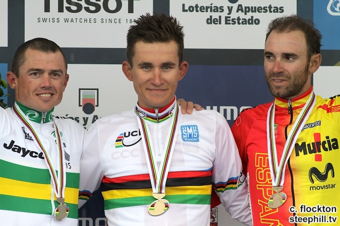 Kwiatkowski, Gerrans and Valverde with medals on podium