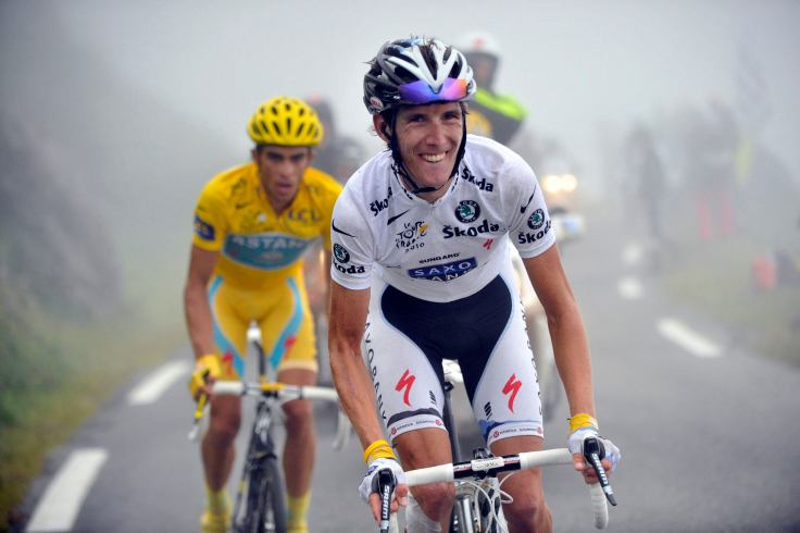 Saxo Bank's Schleck of Luxembourg cycles with Astana's Contador of Spain during the 17th stage of the Tour de France cycling race