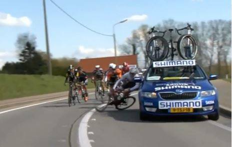 Shimano neutral service car knocks Trek's Jesse Sergent and FDJ
