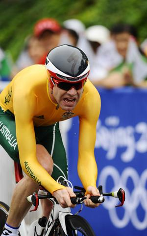 Cadel Evans finished fifth in the men's time trial.