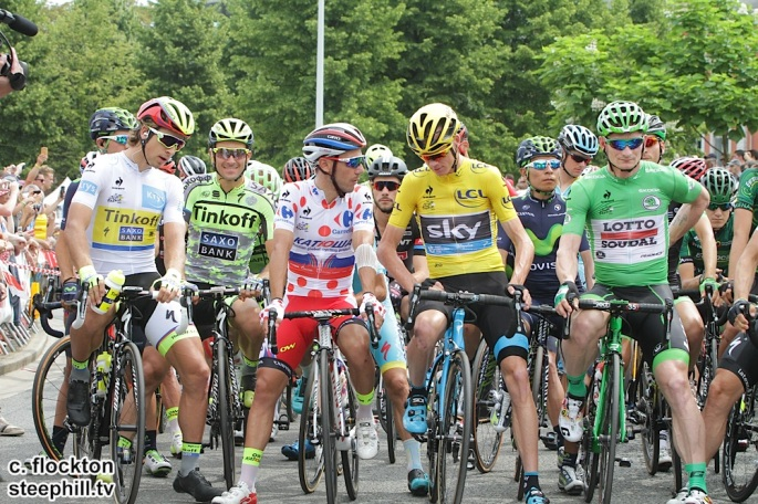 From left Sagan, Basso, Rodriguez, Froome and Greipel at teh start