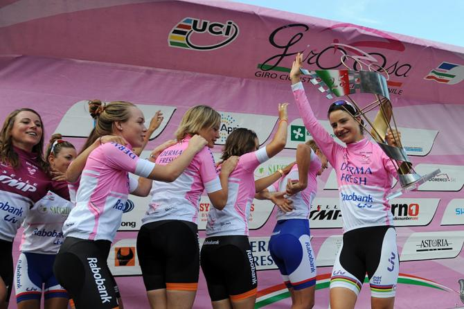 Rabo-Liv Woman Cycling Team celebrate their Giro Rosa victory