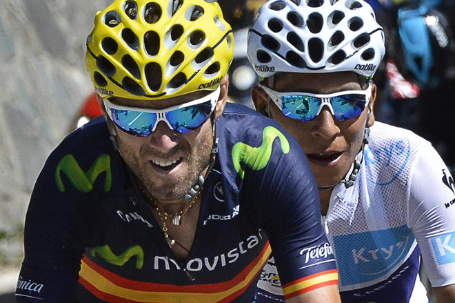 Spain's Alejandro Valverde (L) and Colombia's Nairo Quintana, wearing the best young's white jersey, ride in a breakaway during the 110,5 km twentieth stage of the 102nd edition of the Tour de France cycling race on July 25, 2015, between Modane Valfrejus and Alpe d'Huez, French Alps.  AFP PHOTO / JEFF PACHOUD        (Photo credit should read JEFF PACHOUD/AFP/Getty Images)