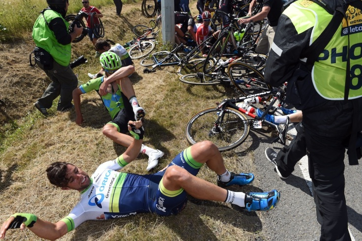 Michael Matthews after a crash on stage three of the 2015 Tour de France