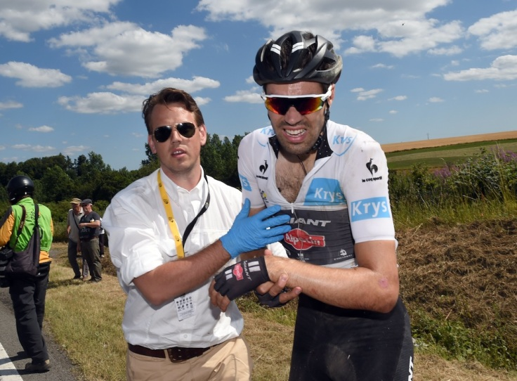 Tom Dumoulin after a crash on stage three of the 2015 Tour de France