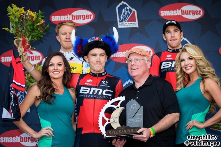 2015 USA Pro Challenge Stage 05 ITT Podium Race Stage 1st RohanDENNIS(AUS-BMC) 2nd RobBRITTON(CAN-SSC) 3rdBrentBOOKWALTER(USA-BMC)