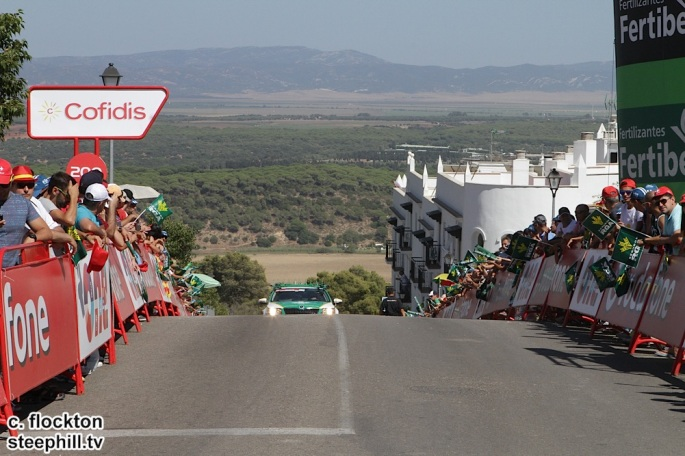 the steep section just before 200m to go