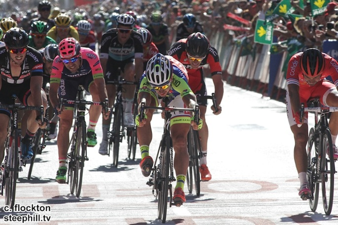 Peter Sagan Slovakia and Tinkoff Saxo makes a bike throw at the line to be sure of beating Degenkolb an dBouhanni