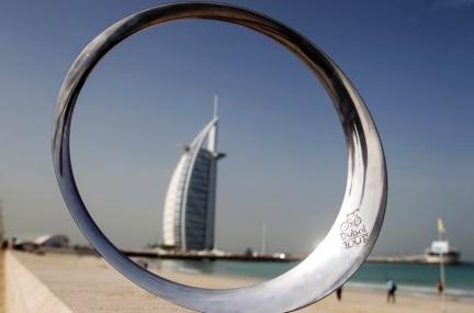 """Il premio """"Circle of stars by Pininfarina"""" fotografato questa mattina in occasione della presentazione del Dubai Tour. Dubai, Emirati Arabi, 4 febbraio 2014. ANSA/ANGELO CARCONI"""