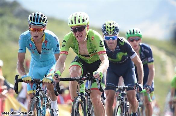 Talansky USA Cannondale & Scarponi Italy Astana just behond teh GC leaders