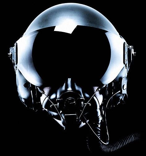 Fighter pilot helmet on a black background