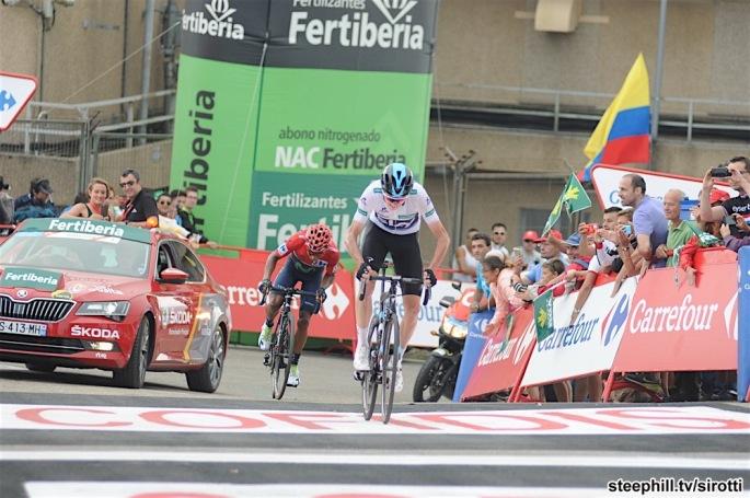 31-08-2016 Vuelta A Espana; Tappa 11 Colunga - Pena Cabarga; 2016, Team Sky; 2016, Movistar; Froome, Christopher; Quintana Rojas Nairo, Alexander; Pena Cabarga;