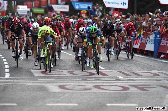 11-09-2016 Vuelta A Espana; Tappa 21 Las Rozas - Madrid; 2016, Orica - Bikeexchange; 2016, Tinkoff; Nielsen Magnus, Cort; Bennati, Daniele; Madrid;