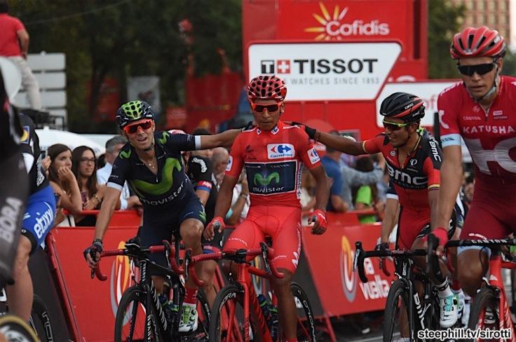 11-09-2016 Vuelta A Espana; Tappa 21 Las Rozas - Madrid; 2016, Movistar; 2016, Bmc Racing; Quintana Rojas Nairo, Alexander; Valverde, Alejandro; Atapuma Hurtado, John Darwin; Madrid;
