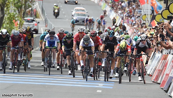 22-01-2017 Tour Down Under; Tappa 06 Adelaide City Council; 2017, Orica - Scott; 2017, Bora - Hansgrohe; 2017, Team Sky; 2017, Uae - Abu Dhabi; Ewan, Caleb; Sagan, Peter; Van Poppel, Danny; Kump, Marko; Adelaide;