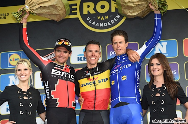 02-04-2017 Tour Des Flandres; 2017, Quick - Step Floors; 2017, Bmc Racing Team; Gilbert, Philippe; Van Avermaet, Greg; Terpstra, Niki; Oudenaarde;