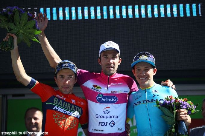 2018 Tour of the Alps overall podium 2nd Do- menico POZZOVIVO- 1st Thibaut PINOT - 3rd Miguel Angel LOPEZ MORENO