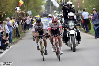 Roubaix - France - wielrennen - cycling - cyclisme - radsport - Peter SAGAN (Slowakia / Team Bora - hansgrohe) - Silvan DILLIER (Swiss / Team AG2R La Mondiale) pictured during the 116th UCI World Tour Paris - Roubaix cycling race with start in Compiegne and finish at the Velodrome Andre-Petrieux in Roubaix on April 08, 2018 in Roubaix, France, 8/04/18 - photo NV/PN/Cor Vos © 2018
